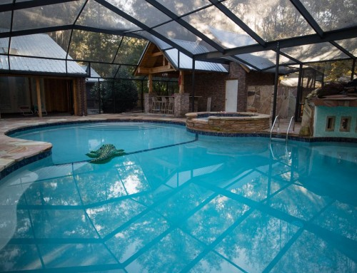 Swimming Pool with Waterfall, Grotto, Outdoor Kitchen, Hot tub and Shower